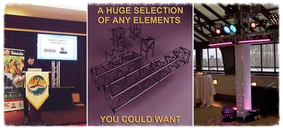 Rent lighting truss or exhibit truss, exhibit display, show booth, modular display.