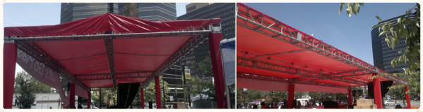 Custom truss kit and banner installation on base plates, outdoor truss installation in New Ark