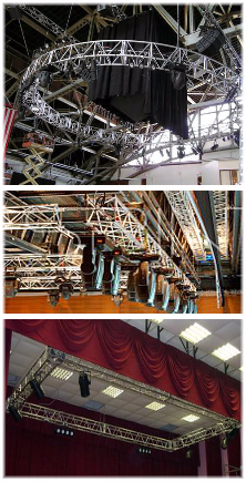 Truss production service, AV rental, trade show rental quote. Concert stage rental, stage rigging equipment for rent.